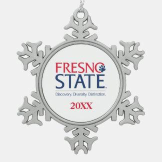 Fresno State Institutional Mark Snowflake Pewter Christmas Ornament