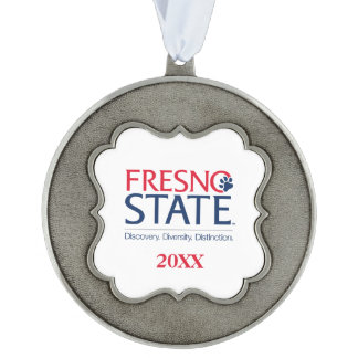 Fresno State Institutional Mark Scalloped Pewter Christmas Ornament