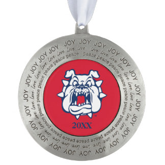 Fresno State Secondary Mark Round Pewter Christmas Ornament
