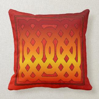 Fretwork Design Over Antique Red Velvet Effect Cushion