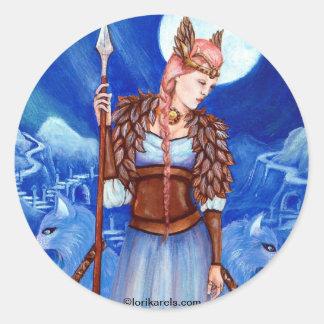 Freya Norse Goddess Round Sticker