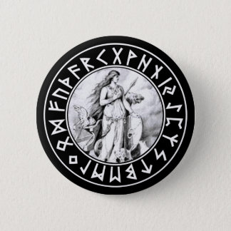 Freya Rune Shield on Blk 6 Cm Round Badge