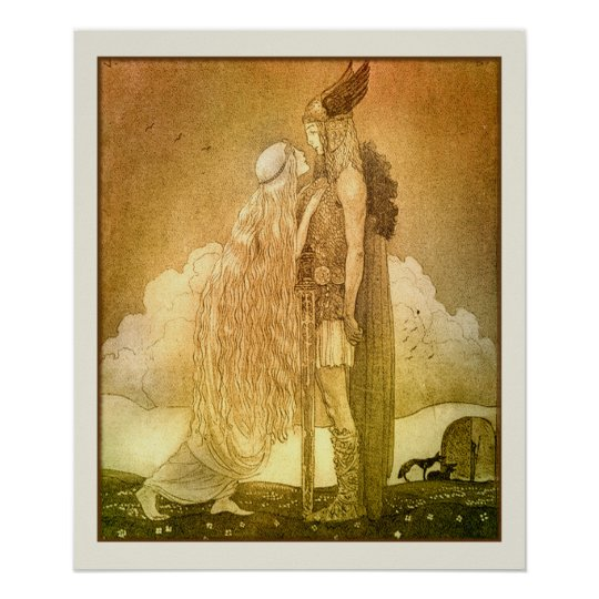 Freyja and Svipdag by John Bauer 1911 Scandinavian