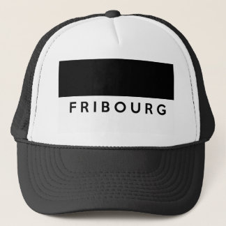 fribourg province Switzerland swiss flag text Trucker Hat