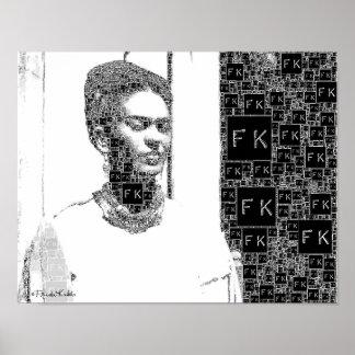 Frida Kahlo Black and White Portrait Poster