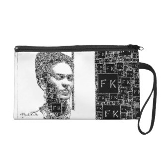 Frida Kahlo Black and White Portrait Wristlet