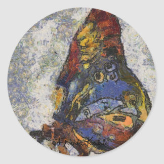 Frida Kahlo Butterfly Monet Inspired Round Sticker
