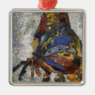 Frida Kahlo Butterfly Monet Inspired Silver-Colored Square Decoration