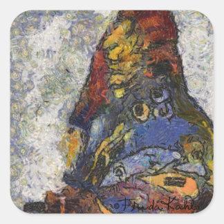 Frida Kahlo Butterfly Monet Inspired Square Sticker