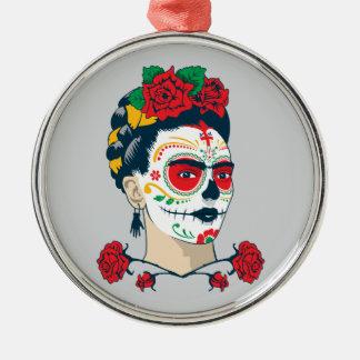 Frida Kahlo | El Día de los Muertos Silver-Colored Round Decoration