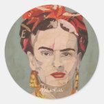 Frida Kahlo en Coyoacán Portrait Round Sticker