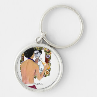 Frida Kahlo en el Espejo Portrait Key Ring
