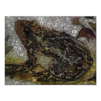Frida Kahlo FK-Style Frog Painting Poster