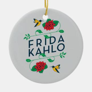 Frida Kahlo   Floral Typography Round Ceramic Decoration