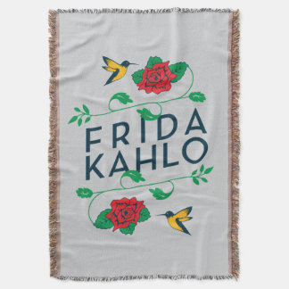 Frida Kahlo | Floral Typography Throw Blanket
