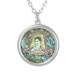 Frida Kahlo Graffiti Silver Plated Necklace