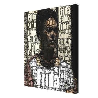Frida Kahlo Lettering Portrait Canvas Print