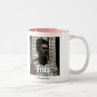 Frida Kahlo Lettering Portrait Two-Tone Coffee Mug