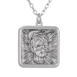 Frida Kahlo Lines Portrait Silver Plated Necklace