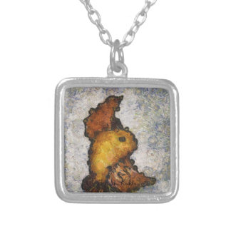 Frida Kahlo Monet-Style Bird Painting Silver Plated Necklace