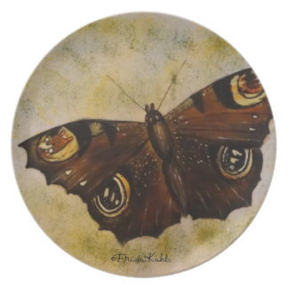 Frida Kahlo Painted Butterfly Dinner Plate