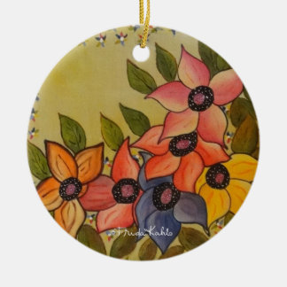 Frida Kahlo Painted Flores Christmas Ornament