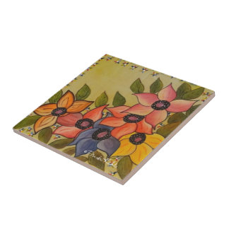 Frida Kahlo Painted Flores Tile