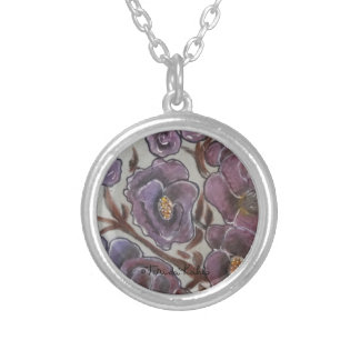 Frida Kahlo Painted Flowers Silver Plated Necklace