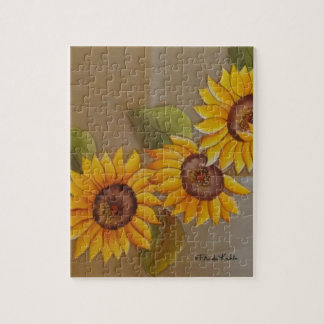 Frida Kahlo Painted Sunflowers Jigsaw Puzzle