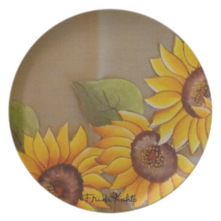 Frida Kahlo Painted Sunflowers Plate