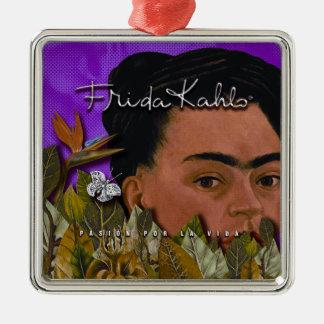 Frida Kahlo Pasion Por La Vida Silver-Colored Square Decoration