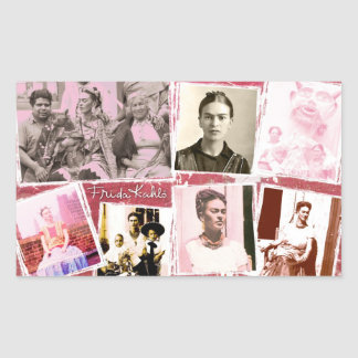 Frida Kahlo Photo Montage Rectangular Sticker
