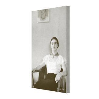 Frida Kahlo Seated w/ Frida Painting Canvas Print