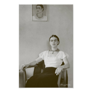 Frida Kahlo Seated w/ Frida Painting Poster