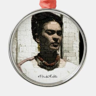 Frida Kahlo Textile Portrait Silver-Colored Round Decoration