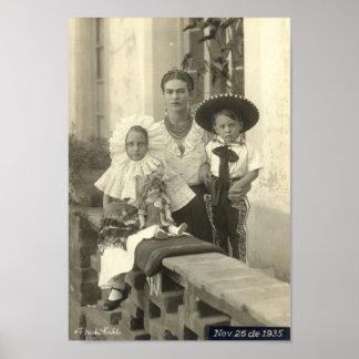 Frida Kahlo w/ Children Poster