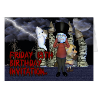 Friday 13th Birthday Invitation, Spooky Ghost, and Card
