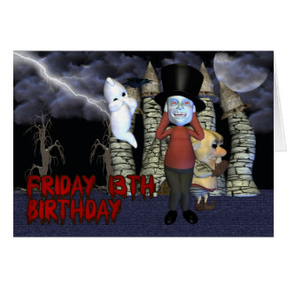Friday 13th Birthday, Spooky Ghost, and creatures Card