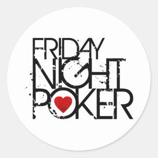 Friday Night Poker Round Sticker