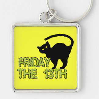 Friday The 13th - Bad Luck Day Superstition Silver-Colored Square Key Ring
