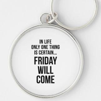 Friday Will Come Office Wisdom White Black Key Chain