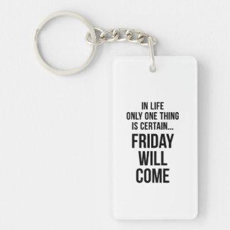 Friday Will Come Work Motivational White Black Single-Sided Rectangular Acrylic Key Ring