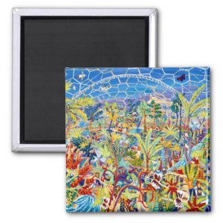 Fridge Art: Garden of Eden. The Eden Project Square Magnet