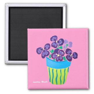 Fridge Art: Lots of Pots of Purple Pansies Magnet