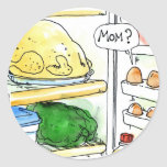 Fridge Chicken Egg Family Funny Round Sticker
