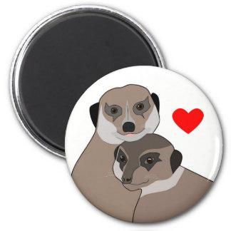 "Fridge-Magnet ""Meerkats in Love"" 6 Cm Round Magnet"