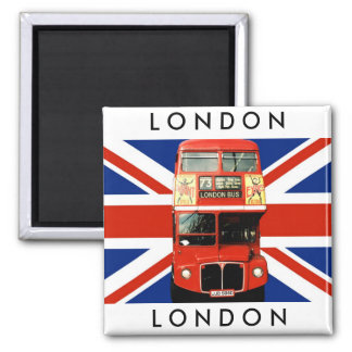 Fridge Magnet w. London Bus and British Flag