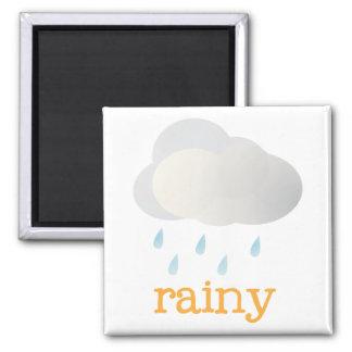 Fridge Weather - RAINY Square Magnet