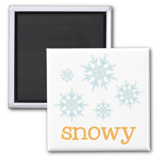 Fridge Weather - SNOWY Square Magnet