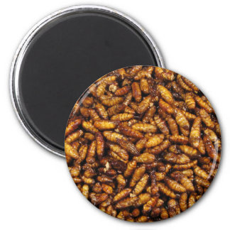 Fried Bamboo Worms ... Thai Street Food 6 Cm Round Magnet